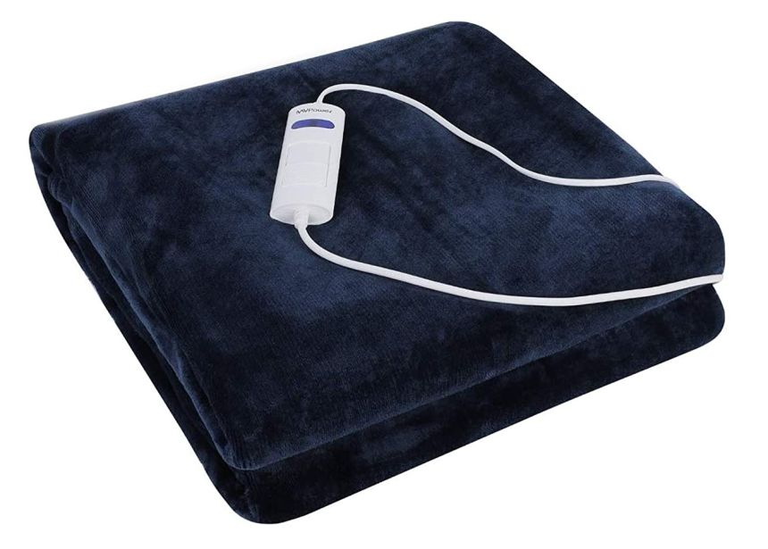 Coperta elettrica da divano MVPOWER da 180 x 130 cm in morbida flanella blu e viola, con 6 livelli di temperatura e spegnimento automatico, lavabile in lavatrice