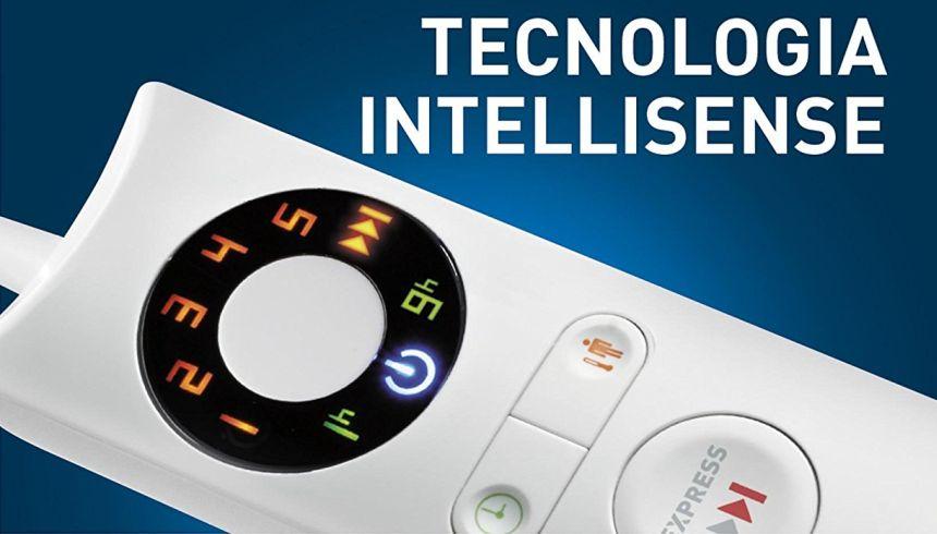 Il telecomando offre 5 livelli di calore più il riscaldamento rapido (Express), e un timer per lo spegnimento automatico