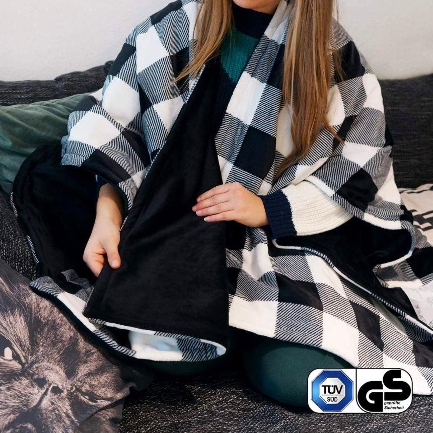 Il poncho elettrico NAVARIS è realizzato in materiali caldi e soffici per assicurare il massimo comfort alle vostre spalle, braccia e collo (all'occorrenza può diventare anche un elegante copriletto invernale)