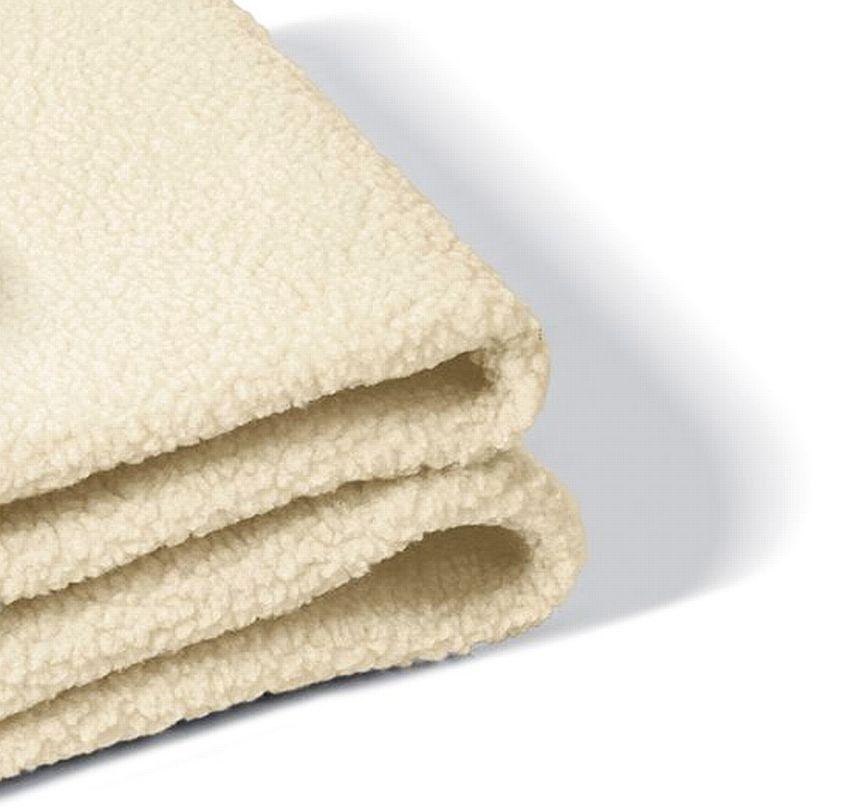 Primo piano del tessuto in lana sintetica dello scaldaletto elettrico per letto matrimoniale Johnson Relax