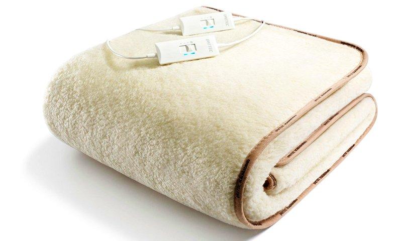 Scaldasonno matrimoniale IMETEC Express 100% lana e merino, con doppio telecomando e funzione di riscaldamento automatico