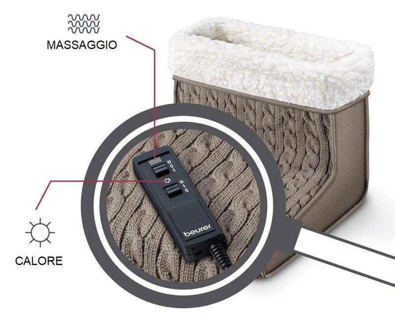 Il telecomando dello scaldapiedi elettrico BEURER FWM 45, con il quale potete impostare 2 livelli di calore e 2 velocità di massaggio