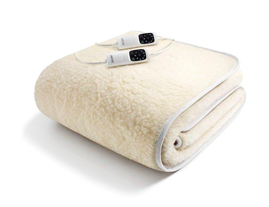Scaldasonno Imetec Adapto, scaldaletto elettrico matrimoniale in calda lana e merino, 6 temperature regolabili e timer