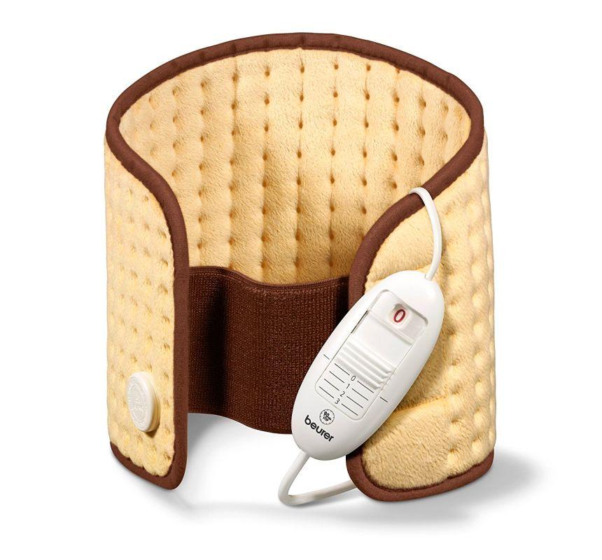 Termoforo elettrico per schiena e addome BEURER HK 49 COSY in micropile traspirante per scaldare e rilassare la muscolatura, colore oro